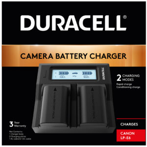 Duracell dual charger for Canon LP-E6 Battery in Box