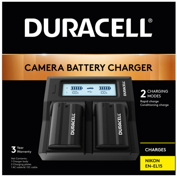 Duracell dual charger for Nikon EN-EL15 Battery in its packaging