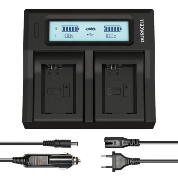 Dual Battery Charger for Sony NP-FW50  Battery Face View